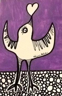 Bird Heart Love Original Folk ink illustration outsider whimsical Art painting   #IllustrationArt