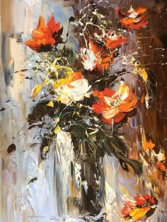 Oil Painting With Palette Knife Code: 6574722914 Oil Painting Materials, Modern Oil Painting, Oil Painting For Sale, Oil Painting On Canvas, Acrylic Paintings, Original Artwork, Original Paintings, Oil Painting Background, Flower Pictures
