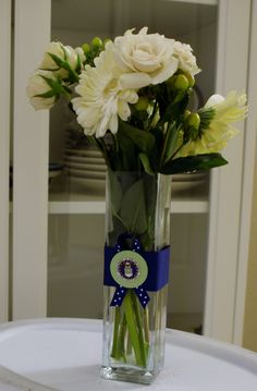 50 Air Force Wedding Decoration: Paper Craft Red, Apple Green and Blue Favor and Vase Medallion Decoration. $20.00, via Etsy.