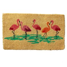 Summer Flamingos Coir Doormat | The Company Store
