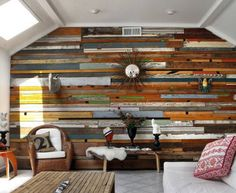 Love the wood planked wall! I am so doing this!!