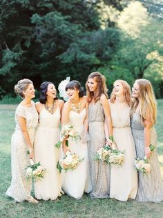 One of the hottest wedding trends are neutral bridesmaid dresses. Find ideas and inspiration to steal the look. Sparkly Bridesmaid Dress, Bohemian Bridesmaid, Mismatched Bridesmaid Dresses, Wedding Dresses, Sparkly Dresses, Mix Match Bridesmaids, Wedding Bridesmaids, Wedding Girl, Wedding Shit