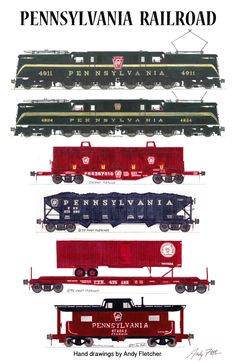 A Pennsylvania Railroad freight train pulled by two Hand drawings by Andy Fletcher Train Info, Train Drawing, Electric Train Sets, Train Art, Rail Train, Train Posters, Railroad Pictures, Old Trains, Vintage Trains