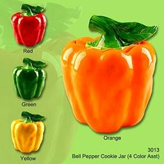 But how to decide on a color? If I buy one, I'd have to buy the set, right? Salt Pepper Shakers, Salt And Pepper, Storage Canisters, Sr1, Green Bell Peppers, Cookie Jars, Green And Orange, Food Storage, Napkins
