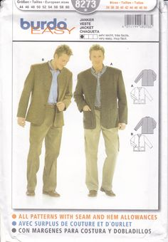 Sewing Pattern Burda 8273 Free Us Ship Mens Collarless Jacket Cardigan with pockets FF UNCUT Size Chest 34 to 50 by LanetzLiving on Etsy Mens Sewing Patterns, Burda Patterns, Simplicity Sewing Patterns, Collarless Jacket, Faux Fur Jacket, Suit Jacket, Ship, Pockets, Free