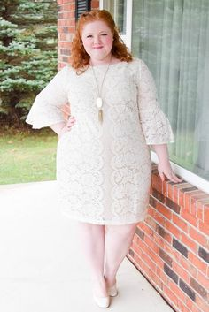 My Thanksgiving Dress from Dressbarn! Read my review of this Lace Flared Sleeve Sheath Dress available in straight sizes 4-14 and plus sizes 14-24W.  #thanksgiving #dressbarn #psootd #ootd #outfit #plussizefashion #plussizeclothing