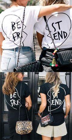 d58b0e14680d0 Best Friend Letters Printed Cotton T-shirt For Women Get Two Shirts