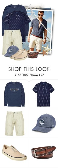 """""""Polka-dot Pima Cotton Polo Shirt"""" by tasha1973 ❤ liked on Polyvore featuring Billabong, Polo Ralph Lauren, Casual Attitude, '47 Brand, Sperry, FOSSIL, men's fashion and menswear"""