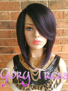 ON SALE // Short & Sassy Asymmetrical Full Wig Black by GloryTress