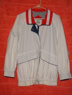Sz L Izzi Spirit Windbreaker Jacket Red White Blue Patriotic Zip Front Lined