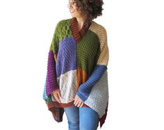 NEW! Patchwork Poncho - Plus Size - Over Size