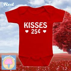Kisses 25 cents, Valentine's day onesie, bodysuit, kids tshirt, Happy Valentine's day, Valentine's day 2017, first valentine's day - CCB-506 by CottonCandyBabyGifts on Etsy