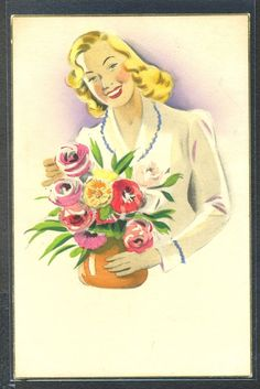 PL015 ART DECO artist signed BEAUTIFUL LADY BUNCH of FLOWERS