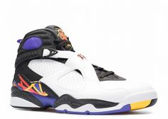 Air Jordan 8 Retro Three-Peat, slated to release on October 24th. The pair utilizes the three accent colors of the defeated squads ranging from the Lakers, Blazers, and Suns. What results is a clean white leather base while contrasting black allows for the bright accent colors to shine.