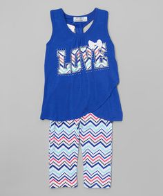 Another great find on #zulily! Royal 'Love' Racerback Tank & Zigzag Leggings - Girls #zulilyfinds