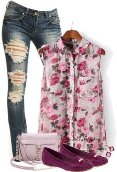 floral blouse summer outfit #outfit #moda #clothes #outfits #tendencias #fashion #ropa #mode #vetements #style #streetstyle
