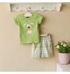 Mom and Bab Boys Set - Green Dog - sadinashop.com Baju setelan bayi dan anak