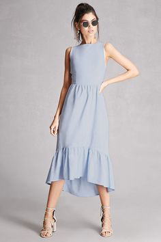 A chambray maxi dress featuring a ruffled high-low hem, round neckline, sleeveless cut with crochet trim, cutout back with a self-tie bow, and an elasticized back waist. This is an independent brand and not a Forever 21 branded item.