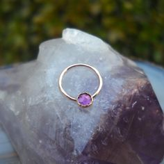 Amethyst Nipple Ring Piercing / Septum Ring/Nose ring 14K Rose Gold Filled Handcrafted