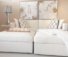 Beigen ja valkoisen sävyt sopusoinnussa olohuoneessa