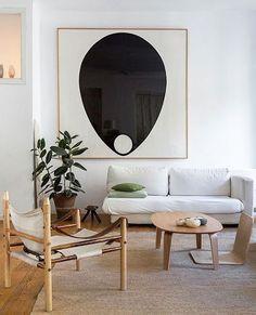 oversized black and white graphic art in modern living room / sfgirlbybay