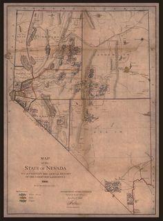 "1866 ANTIQUE MAP OF NEVADA, MINING, Reno, Carson, AMERICA, 28""x20"""