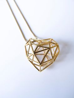Wireframe Heart Necklace - Goldplated designed by Anna Ruiter - Tjielp Design made in Netherlands as part of Fashion and Women and Necklaces - image 1 on CROWDYHOSUE Unusual Jewelry, Stylish Jewelry, Charm Jewelry, Jewelry Gifts, Jewellery, 3d Printed Heart, Long Pendant Necklace, Long Necklaces, Jewelry Necklaces