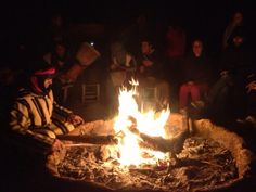 Fire in the desert camp, in Morocco