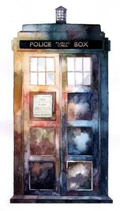 Watercolor Tardis - Dr Who Art Doctor Who, The Doctor, Eleventh Doctor, Die Tardis, Tardis Art, Tardis Blue, Disneysea Tokyo, Serie Doctor, Kunst Tattoos