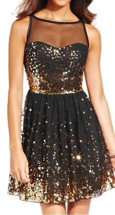 Black + gold sequin dress. A great #NYE party dress. #sponsored