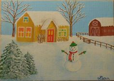 Winter, Snow, Country House, Snowman, Barn, Trees, ACEO Art Card, packrat-2013@ebay SOLD