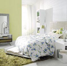 dormitorio en verde y azul