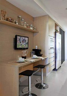 Quero compartilhar com vocês cozinhas pequenas  que precisam de espaço para as refeições rápidas! Tem as cozinhas com ilha ou banca...