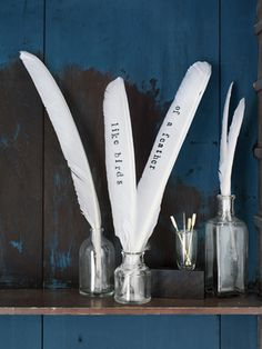 Make a sweet statement with a bouquet made of feathers.    #crafts #diy