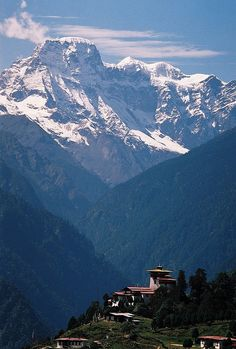 Gasa Dzong in the mighty mountains of Northern Bhutan...