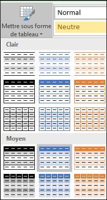 Sélections dans la galerie de styles Excel pour l'option Mettre sous forme de tableau