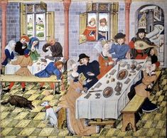 Feast in a tavern, Flanders 1455
