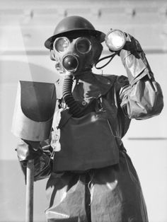 Arps in Gas Masks During World War Ii During Decontamination Exercise
