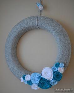 winter Inspired Yarn & Rosette Wreath