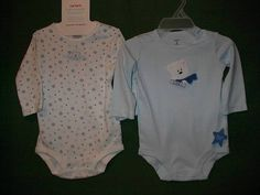New Carters Baby Boy or Girl 2 Pack Blue & White Onesies Bodysuits Sz 6M NWT  So pretty.   Ebay item #160948520775