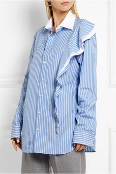 Maison Margiela | Ruffled striped cotton-poplin shirt | NET-A-PORTER.COM