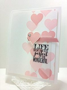 """vellumhearts - Debbie Currier,  Card Recipe: Stamps- Perfect Pennants; Paper- Whisper White, Blushing Bride, vellum; Ink- black StazOn, Blushing Bride, Pink Pirouette; Accessories- Banners framelits, 3/4"""" circle punch, rhinestone, dimensionals"""