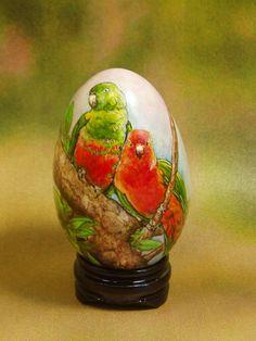 Parrots/ Hand Painted Goose Egg Shell/ Egg Art/ Love