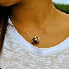 Hawaiian Shell Necklace, Fine Gold Chain, Brown and White Maui Cone Shell, Hawaii Beach Jewelry. $30.00, via Etsy.