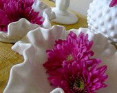 Vintage Hobnail Ruffle Milk Glass: 4 Piece Collection