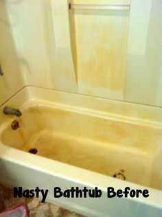 My Homemade Happiness: Nasty Rusted Bathtub Before & After: Remove rust stains with Dawn and vinegar How To Clean Rust, How To Remove Rust, Clean Clean, Household Cleaning Tips, House Cleaning Tips, Cleaning Rust, Cleaning Schedules, Cleaning Diy, Cleaning Closet