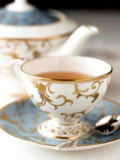 Piping Hot Tea Served In The Finest China With Gold Accents For Ladies That Do Tea ;)
