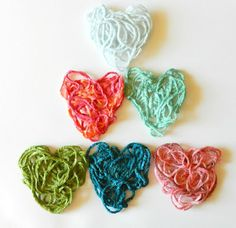 Starched yarn hearts  http://growcreative.blogspot.ca