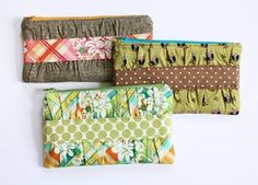Super cute sewing tutorials | How About Orange - I'd do these bags in different colors, but the idea is cute