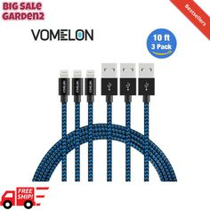 Lightning Cable, 3Pack 10FT Nylon Braided Extra Long Tangle-Free Cord Lightning, #Vomelon